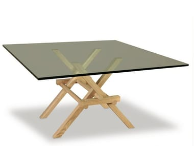 Square wood and glass table LEONARDO