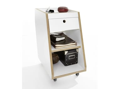 Wooden office drawer unit with casters SLOPE