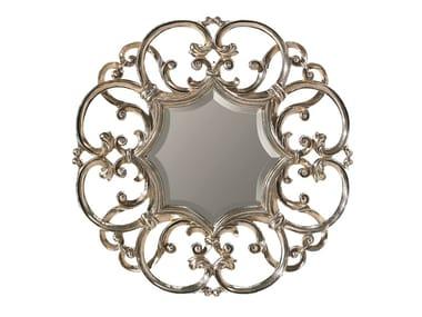Wall-mounted framed wooden mirror IRIS