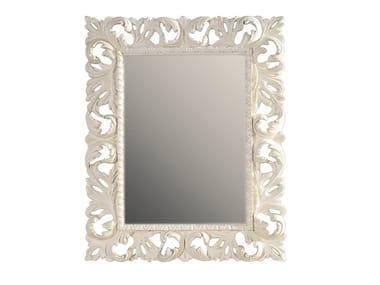 Rectangular framed wooden mirror MAUVE