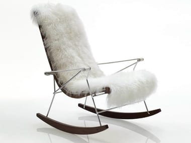 Rocking leather armchair with armrests J.J. | Fur armchair