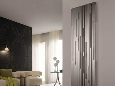 Brushed steel decorative radiator STRADIVARI VT
