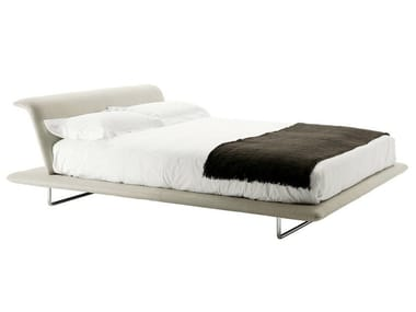 Fabric double bed with upholstered headboard SIENA