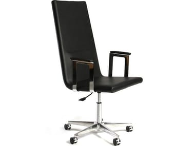 Cadeira operativa de pele com braços BASSO XL | Cadeira de pele