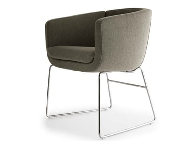 Sled base upholstered chair TULIP SIXTY | Sled base chair