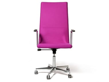 High-back chair with armrests with castors BASSO XL | Chair with armrests