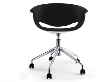 Fabric chair with 5-spoke base with casters SINA | Chair with casters