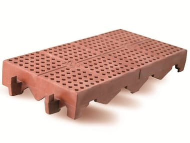Plastic outdoor floor tiles with terracotta effect PIASTRELLA