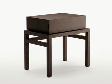 Rectangular solid wood bedside table with drawers THRONOS