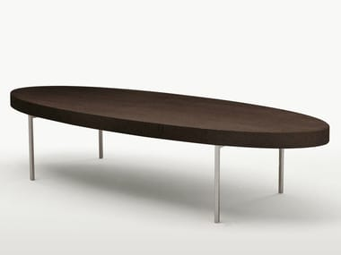 Low oval solid wood coffee table EBE | Oval coffee table