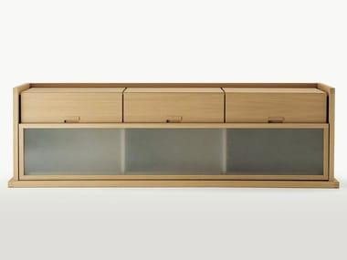 Madia in legno e vetro con ante scorrevoli con cassetti INCIPIT | Madia