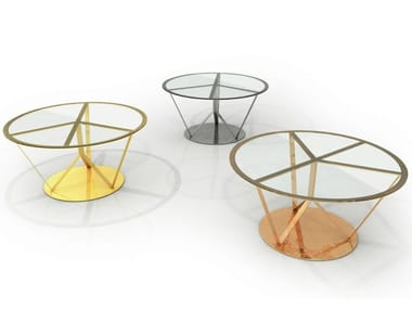 Round glass and aluminium table PACE | Table
