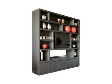 Freestanding wood veneer TV wall system CHEMINEE | Storage wall
