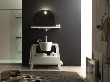 Single oak vanity unit with mirror CANESTRO - COMPOSITION C25