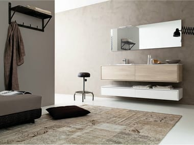 Wall-mounted HPL vanity unit with mirror LIBERA 3D - COMPOSITION C06