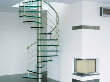 Helical glass and steel Spiral staircase 76 | Spiral staircase