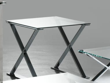 Square crystal and steel coffee table ICS | Square coffee table