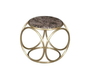 Low round coffee table BRASS RINGS | Marble coffee table
