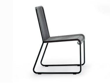 Sedia a slitta da giardino in acciaio inox HARP | Sedia