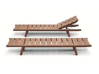 Lettino da giardino reclinabile in teak con ruote ORSON | Lettino da giardino