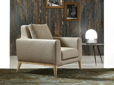 Armchair with removable cover with armrests MILLER | Armchair
