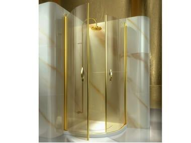Corner semicircular custom tempered glass shower cabin GOLD AT