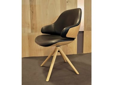 Trestle-based leather chair CIEL! SWEET   Leather chair