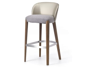 High upholstered fabric stool with footrest BELLEVUE 06