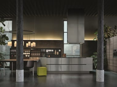Steel and wood kitchen with peninsula PHOENIX