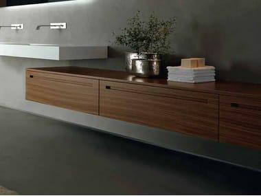 Low suspended walnut bathroom cabinet ZERO | Walnut bathroom cabinet