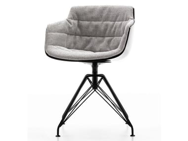 Swivel trestle-based fabric chair with armrests FLOW SLIM | Trestle-based chair
