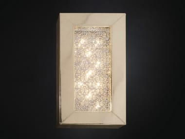 Eco-leather wall lamp with crystals ARRAS RECTANGULAR