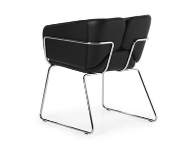 Sled base upholstered easy chair with armrests MIXX SLED