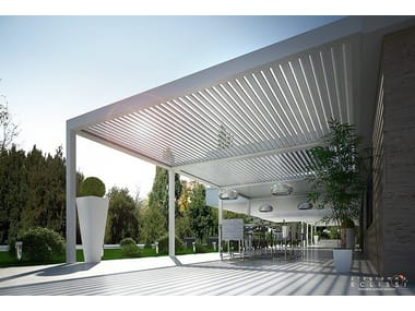 Wall-mounted aluminium pergola with adjustable louvers with built-in lights BIOSHADE ADDOSSATA
