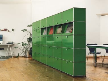 Tall modular metal office storage unit USM HALLER MODULAR OFFICE SHELVING | Office storage unit