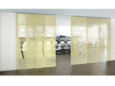 Decorated glass movable wall / Sliding door ALPHA ENALIOS