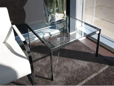 Mesa auxiliar cuadrada de vidrio ALIANTE | Mesa auxiliar