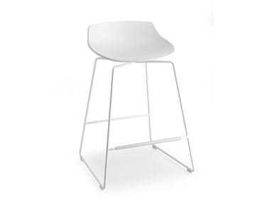 High sled base stool with footrest FLOW STOOL | Sled base stool