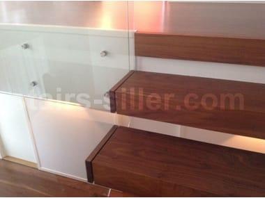Scala a sbalzo in legno e vetro EUROPA | Scala a sbalzo