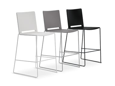 High polypropylene stool with back FILÒ PLASTIC | High stool