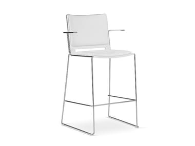 High stool with armrests with back LAFILÒ SOFT | Stool with armrests