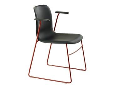 Sedia a slitta con braccioli SIXE | Sedia con braccioli