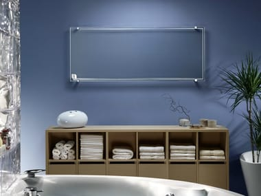Electric wall-mounted infrared tempered glass towel warmer THERMOGLANCE ® | Horizontal radiator