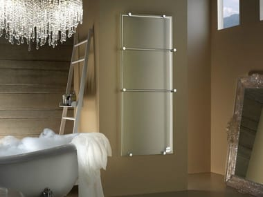 Electric wall-mounted infrared tempered glass towel warmer THERMOGLANCE ® | Vertical radiator
