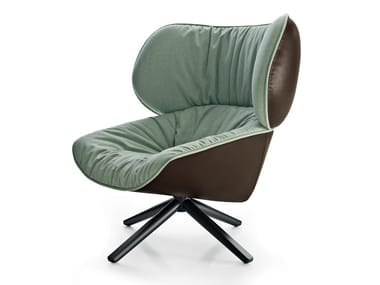 Swivel upholstered fabric armchair TABANO