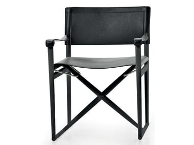 Folding tanned leather chair with armrests MIRTO INDOOR | Folding chair