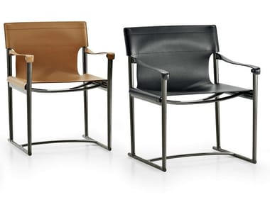 Tanned leather chair with armrests MIRTO INDOOR | Chair with armrests