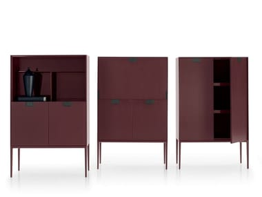 Lacquered wooden highboard with doors ALCOR | Highboard