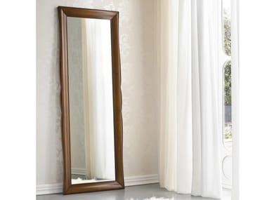 Rectangular framed walnut mirror SYMFONIA | Mirror