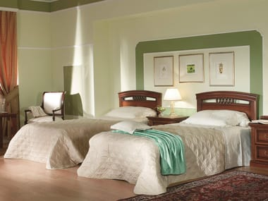 Cherry wood hotel bed single bed VENEZIA | Hotel bed